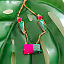 'Lady Yvonne' Rose Gold Pink Green Gemstone Statement Earrings image