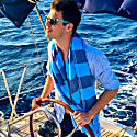 Carnival Travel Towel Turquoise & Navy Blue image