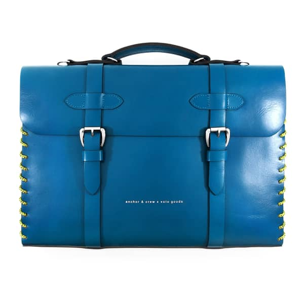 ANCHOR & CREW Traffic Blue Rufford Leather and Rope Briefcase