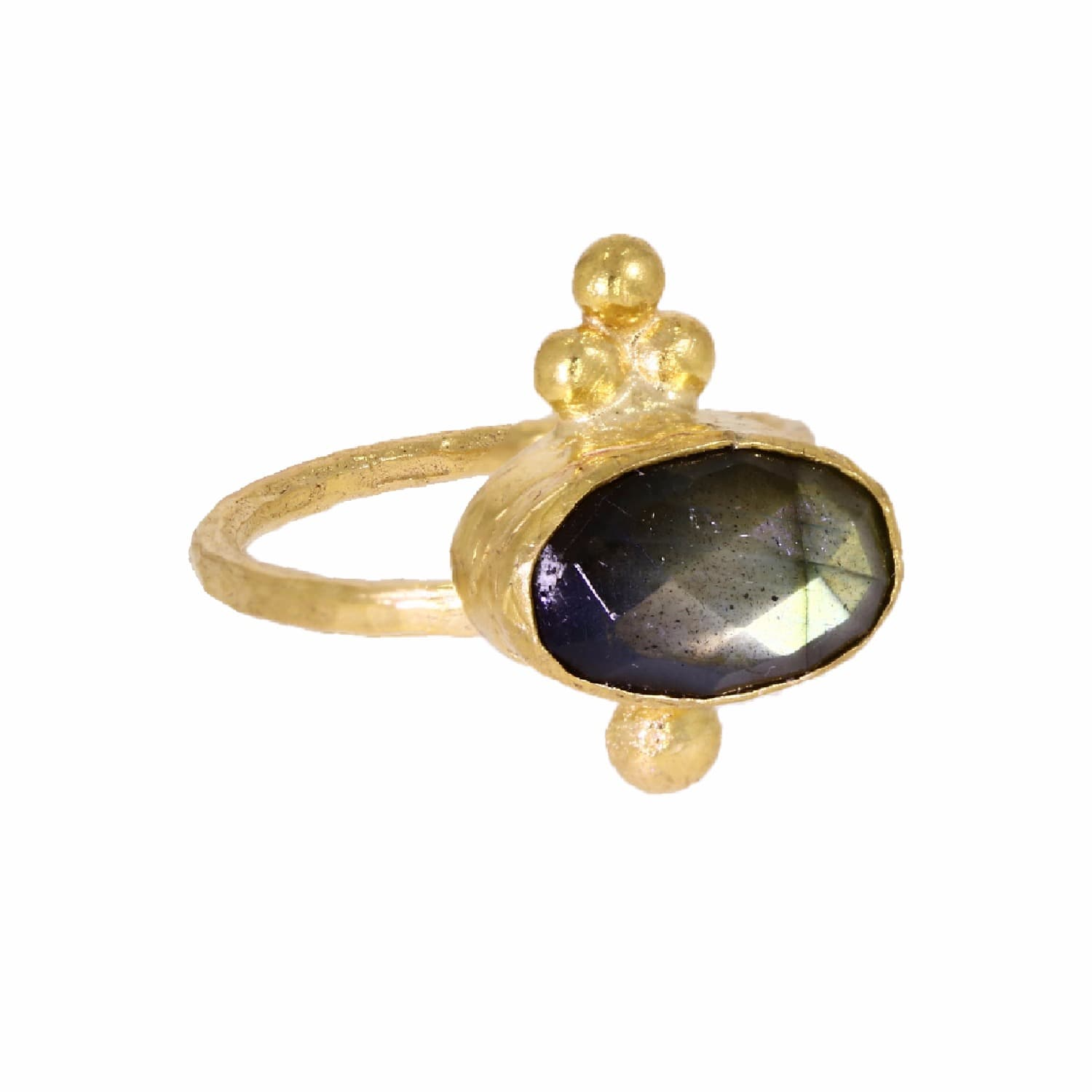 f5ea1cd539791 Miniature Labradorite Oval Triple Bead Cocktail Ring by Ottoman Hands