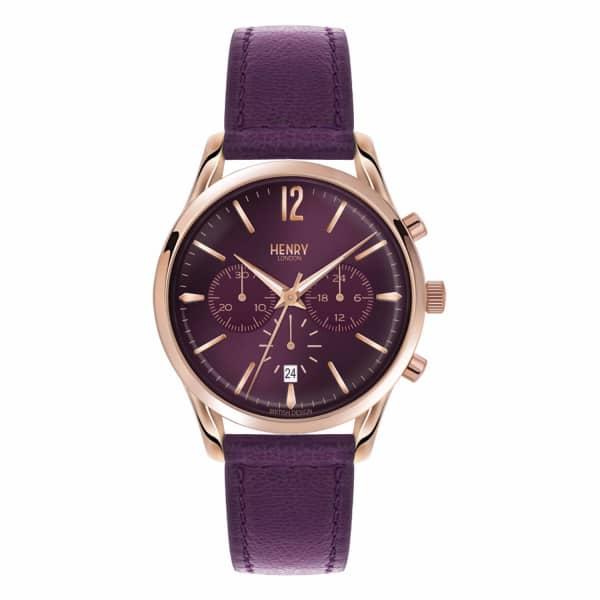 HENRY LONDON Ladies 39Mm Hampstead Purple Chronograph Leather Watch
