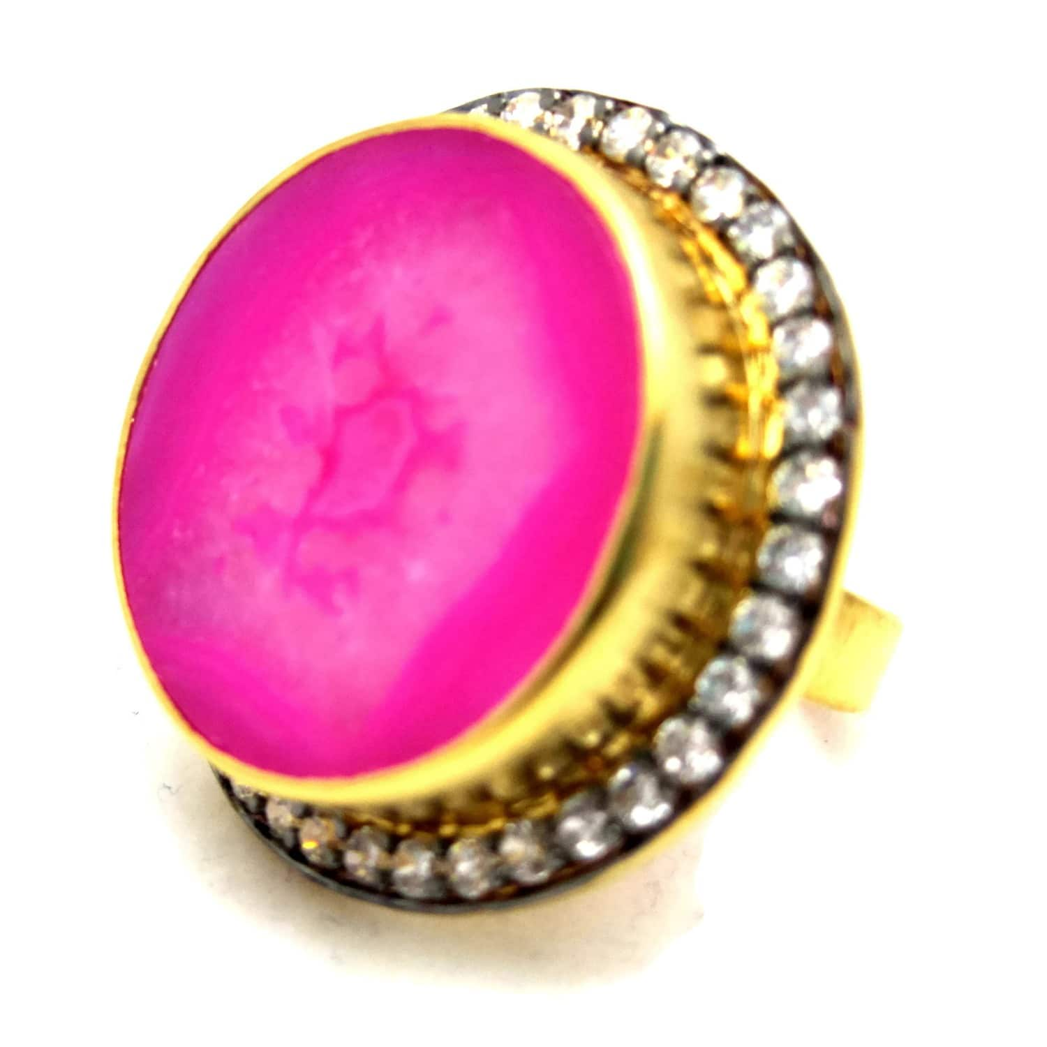Fuchsia Pink Round Druzy Ring | MEGHNA JEWELS | Wolf & Badger
