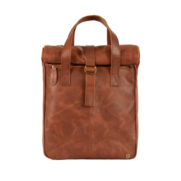 Mahi Leather Vintage Style Roll Top Backpack In Distressed Brown Leather