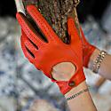 Bega Black Leather Driving Gloves With Black Tweed image