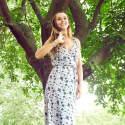Charcoal Floral Chiffon Mid Wrap Dress image