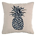 Pineapple Embroidered Small Square Cushion Navy image