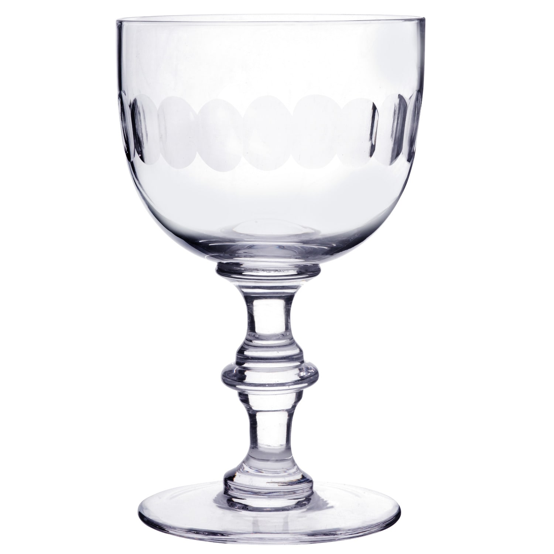 The Vintage List - Six Hand Engraved Crystal Wine Goblets With Lens Design