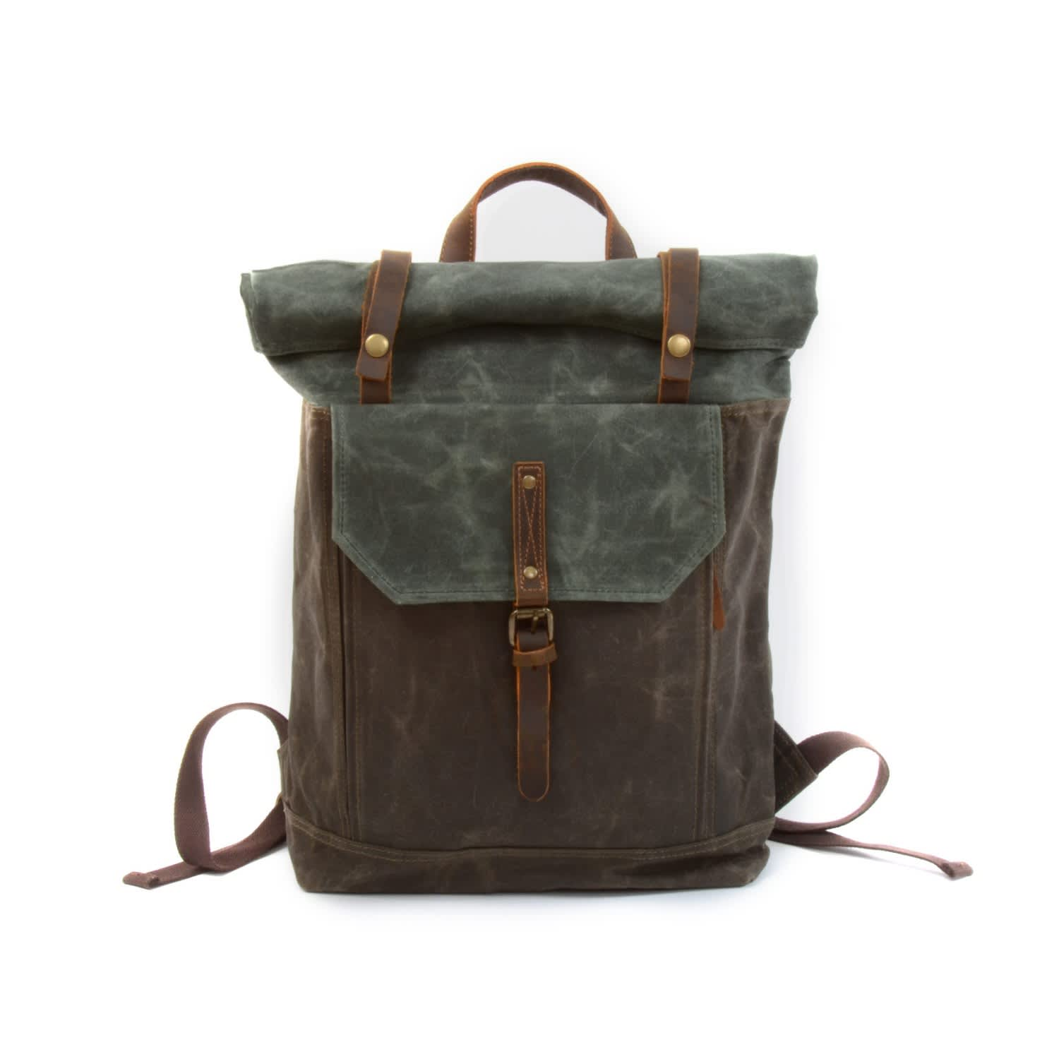 1981bc9ed Waxed Canvas Roll-Top Backpack in Deep Green | EAZO | Wolf & Badger