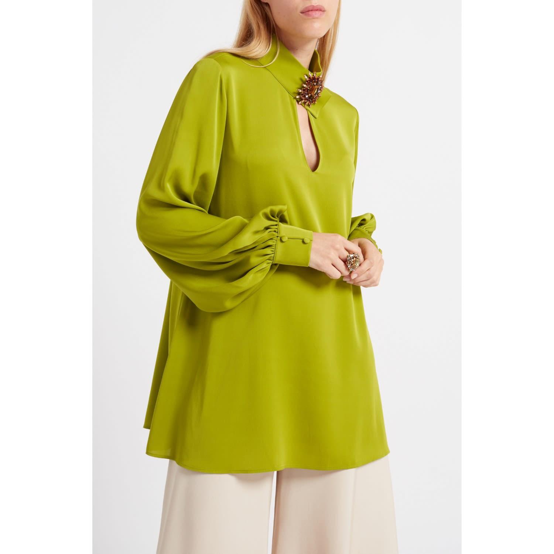 e0ae9456d371d2 Nijinska Green Long Sleeve Silk Tunic Blouse   WtR   Wolf & Badger