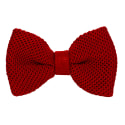 Red Solid Silk Knitted Bow Tie image