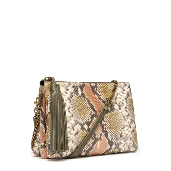 THACKER NEW YORK Ladybird Chain Clutch In Taupe Python in Neutrals