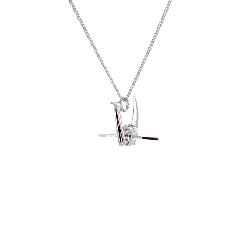 Origami Jewellery Black Silver Mini Crane Origami Necklace r4Rl8b