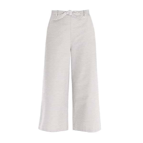 PAISIE Horizontal Striped Wide Leg Culottes With Tie Belt