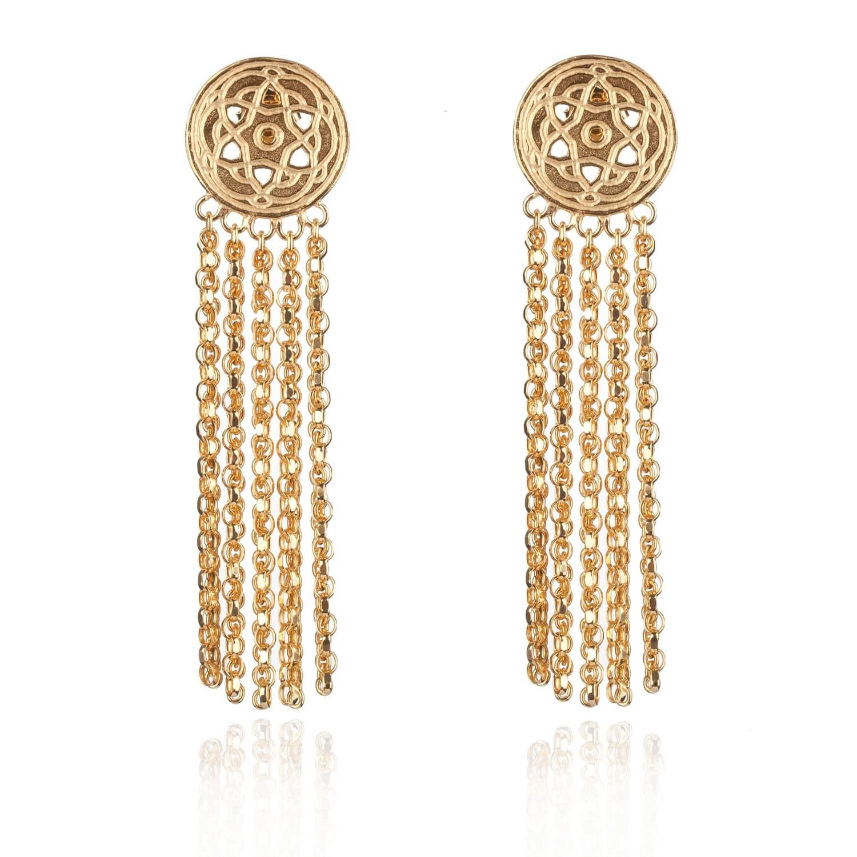 Gold Byzantine Tassels Earrings by Maro