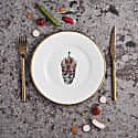 Skull In Red Crown Bone China Salad Plate image