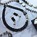 Natural Branch Shaped Black Coral With Freshwater Pearls & Rhinestone Necklace image