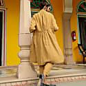 Garment Washed Linen Coat - Biscuit image