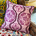 Large Tiger Chinoiserie Print Pink Velvet Cushion image