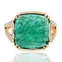 18Kt Gold Cocktail Ring Pave Diamond Natural Emerald Handmade image