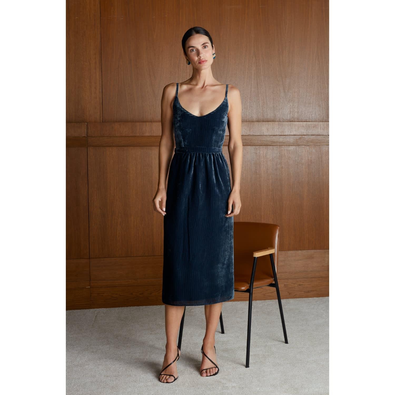 Kelila Navy Blue Striped Velvet Midi Dress Undress Wolf Badger