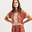 Vintage Inspired Floral Printed Midi Eyelet Trim Summer Dress Red image