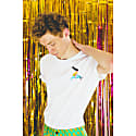 Dolphin Rider Yellow Embroidered T-Shirt In White image