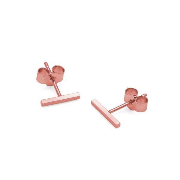 MYIA BONNER 9Ct Rose Gold Bar Stud Earrings in Pink