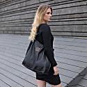 Leather Handbag Shopper Black image