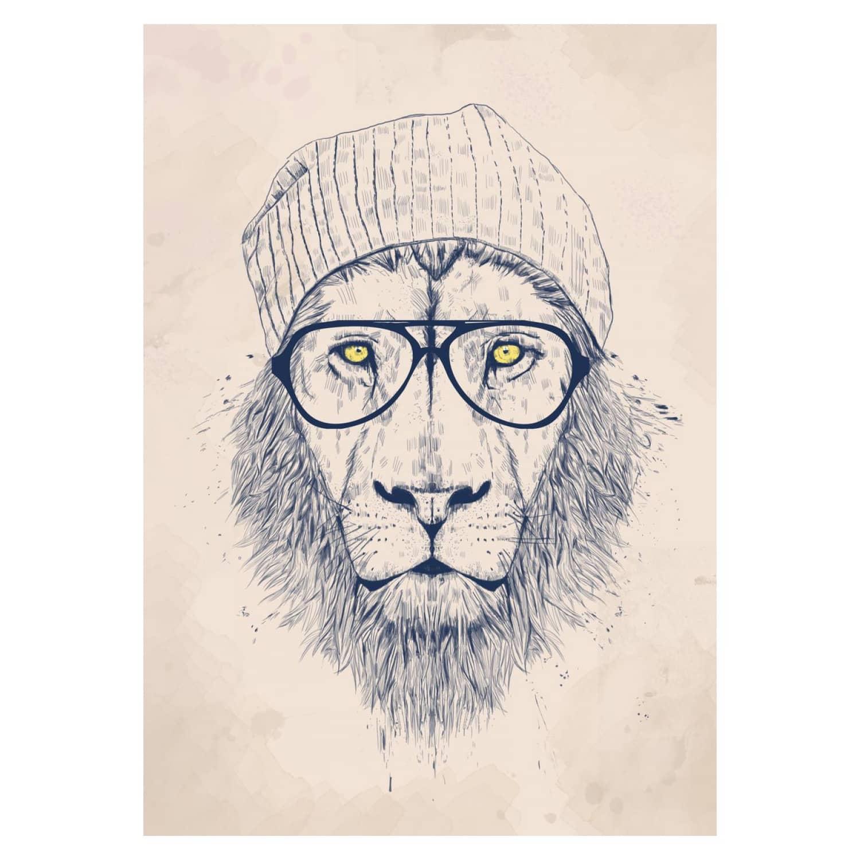Cool lion art print image