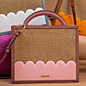 Boxy Cross Body Bag With Wicket Detailing- Pink image