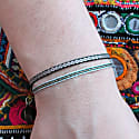 Set of Two Handwoven Bracelets in Green & Gold image