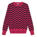 Chevron Crew Neck Jumper Pink & Grey image