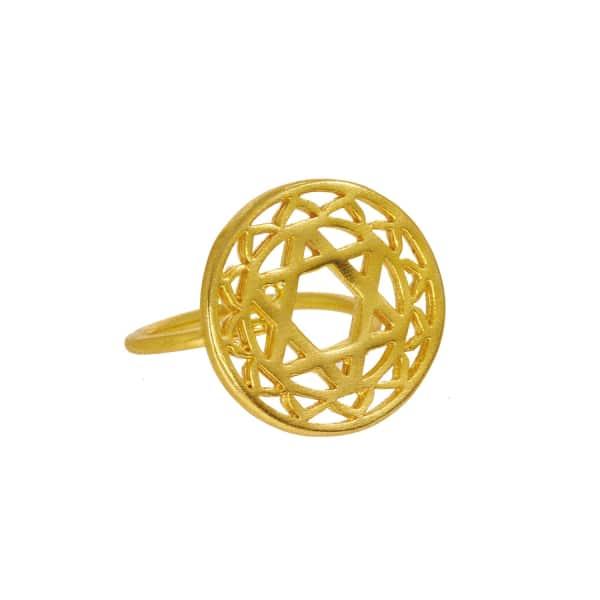 OTTOMAN HANDS Gold Heart Chakra Ring