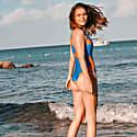 Flamingo Plunging Halter Racerback Onepiece Swimsuit Blue & Orange image
