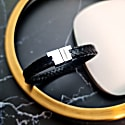 Black and Silver Leather Serac Bracelet image