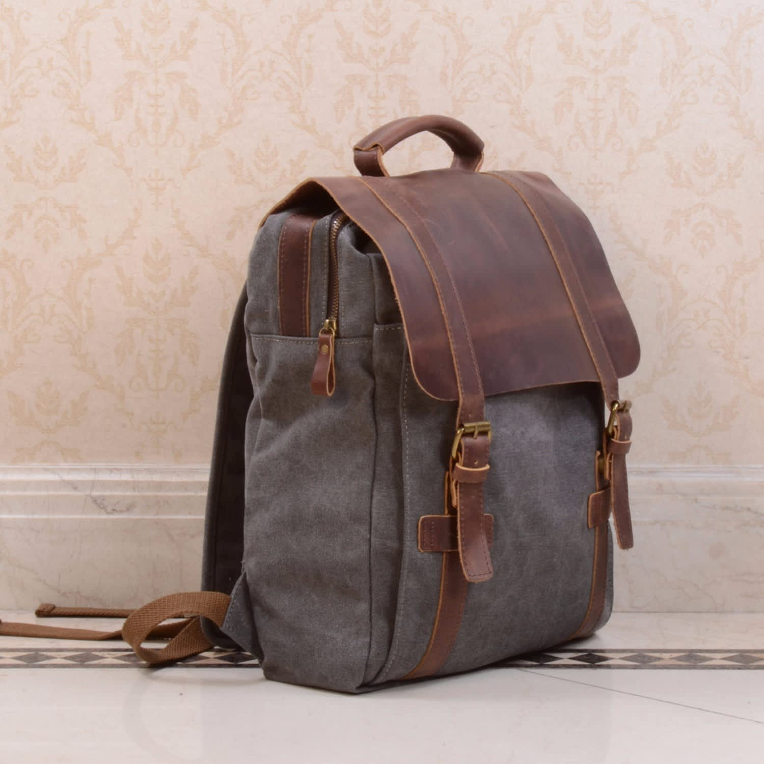 b119c0fb2572ad Canvas & Leather Backpack in Grey | EAZO | Wolf & Badger