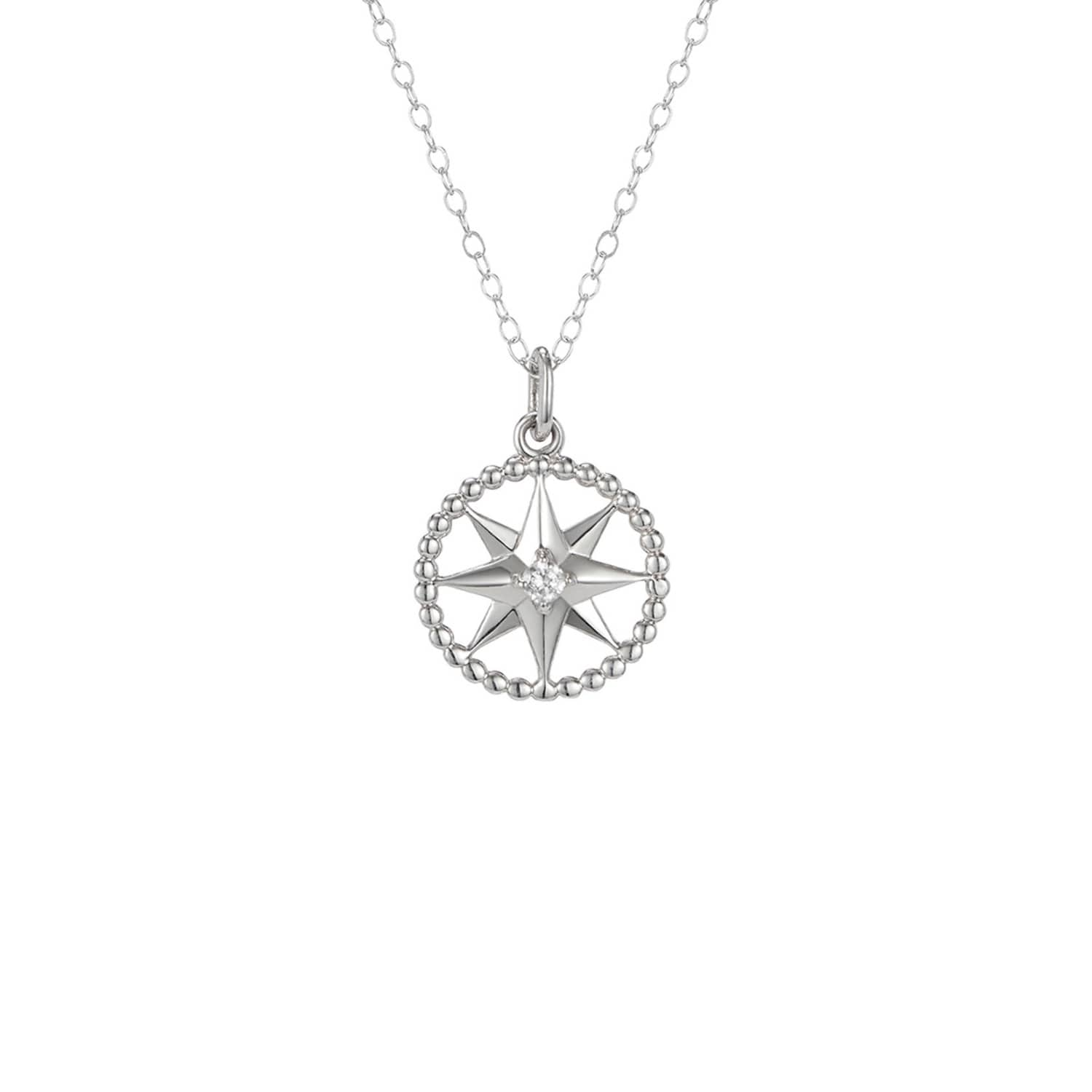 7357c9064b7ce Crystal Star Charm Pendant In Sterling Silver On 14 Inch Choker ...