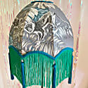 Monkey Palm Print Scalloped Dome Shade In Grey,Green Fringe & Blue Tassels image