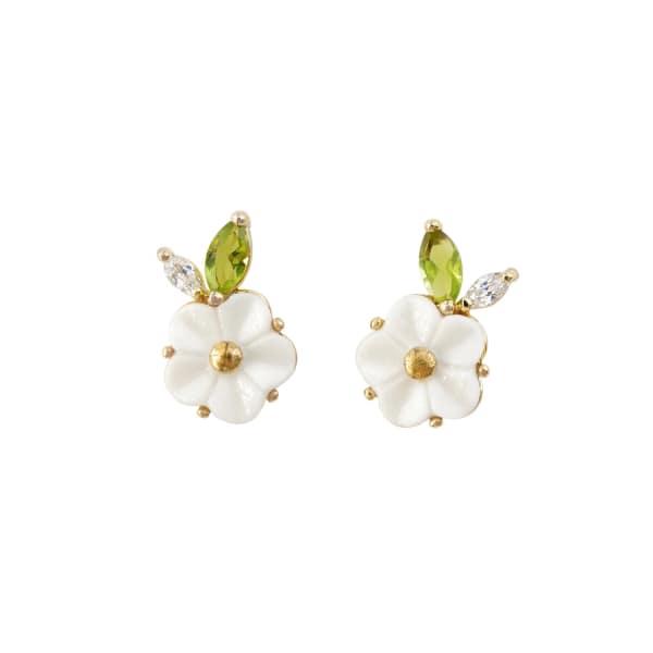 POPORCELAIN Porcelain Strawberry Flower Stud Earrings