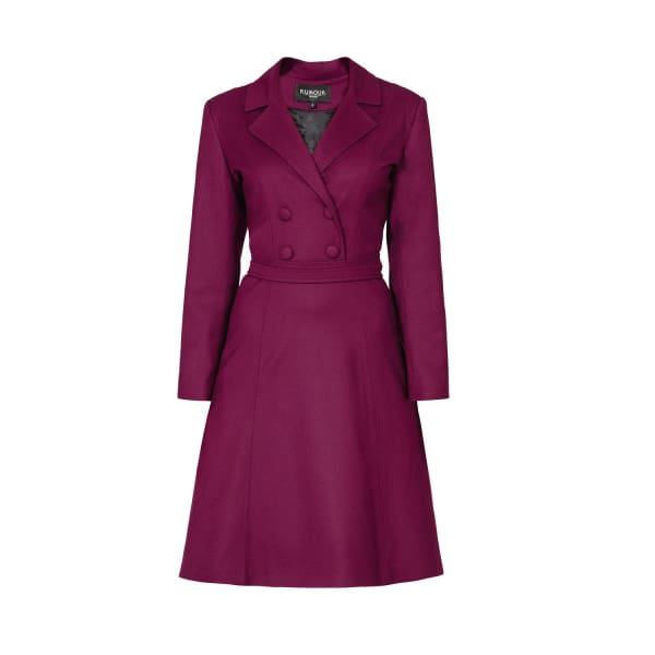 RUMOUR LONDON Annabel Mulberry Virgin Wool Dress With Pleated Back