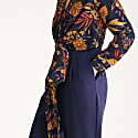 Midnight Floral Top Jumpsuit With Wrap Tie Waist image