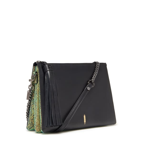 THACKER NEW YORK Ladybird Chain Clutch In Black & Neon Iridescent