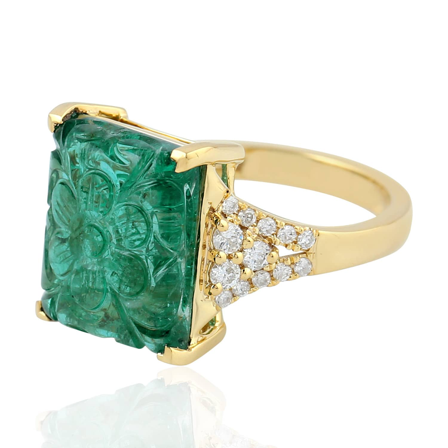 18kt Yellow Gold Flower Design Carving Emerald Pave Diamond Ring By Artisan