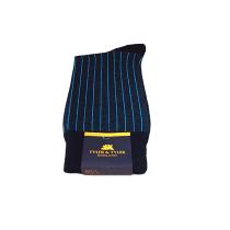 TYLER & TYLER Pinstripe Blue & Black Socks