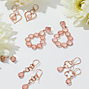 Open Clover Gemstone Drop Earring Rosegold Rose Quartz image