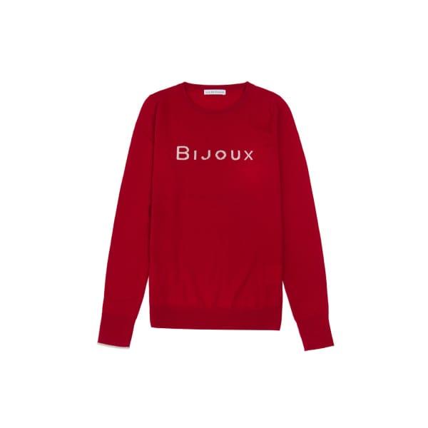 ILLE DE COCOS Bijoux Merino Sweater Cherry Red & Pebble Grey