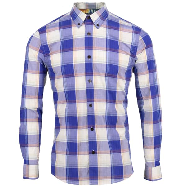 LORDS OF HARLECH Morris Shirt In Navy Large Gingham