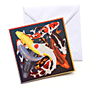 Set of Five Textured Greeting Cards With Envelopes Koi Designs Assorted image