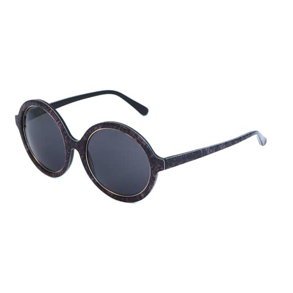 HEIDI LONDON Denim Print Circular Sunglasses Black