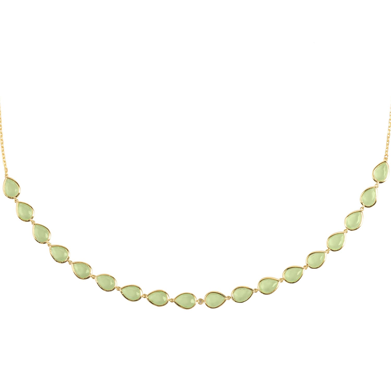 Latelita London Florence Round Gemstone Necklace Gold Aqua Chalcedony 20paOAOvB